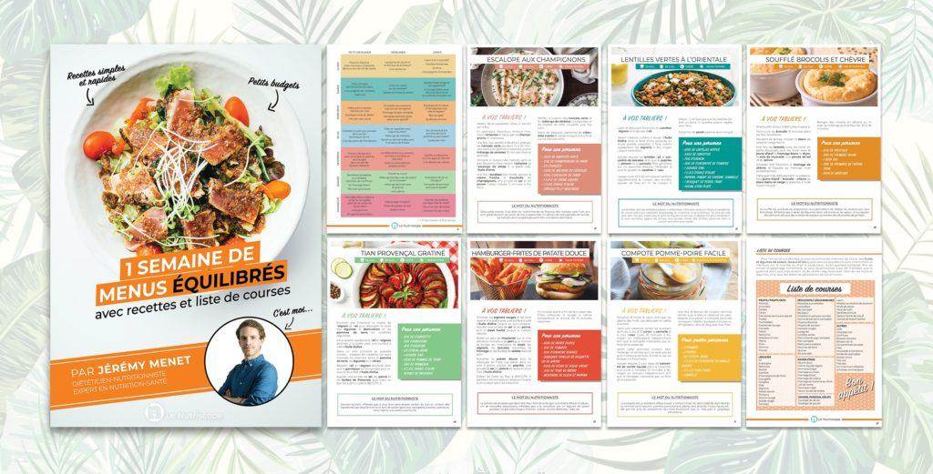 Une semaine de menu équilibrée avec recettes et liste de courses